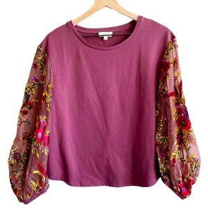 Umgee Velvet Floral Sheer Puff Sleeve Sweater
